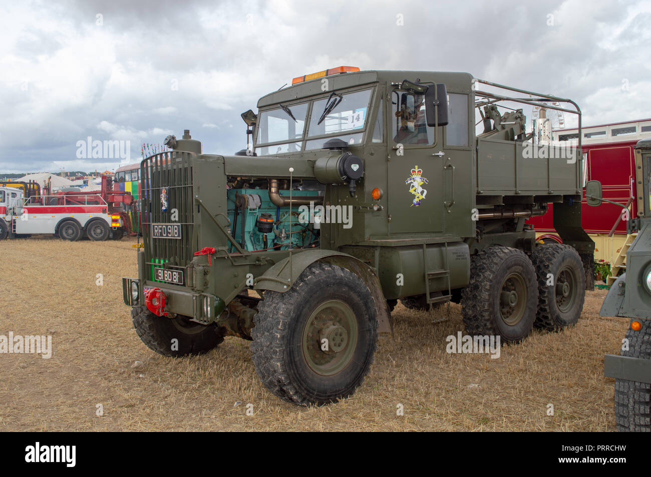 Scammell Explorer 1953 RFO 918 with REME badge on doors and grill on display at the Dorset Steam fair - Stock Image