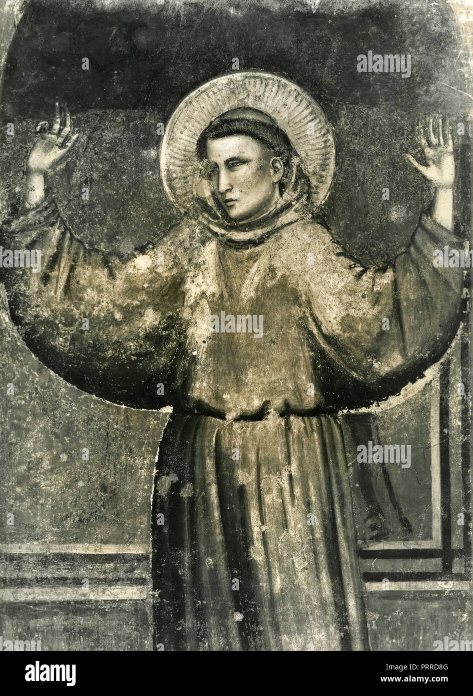St. Francis appears to St. Anthony in Arles, fresco by Giotto di Bondone, 1930s - Stock Image