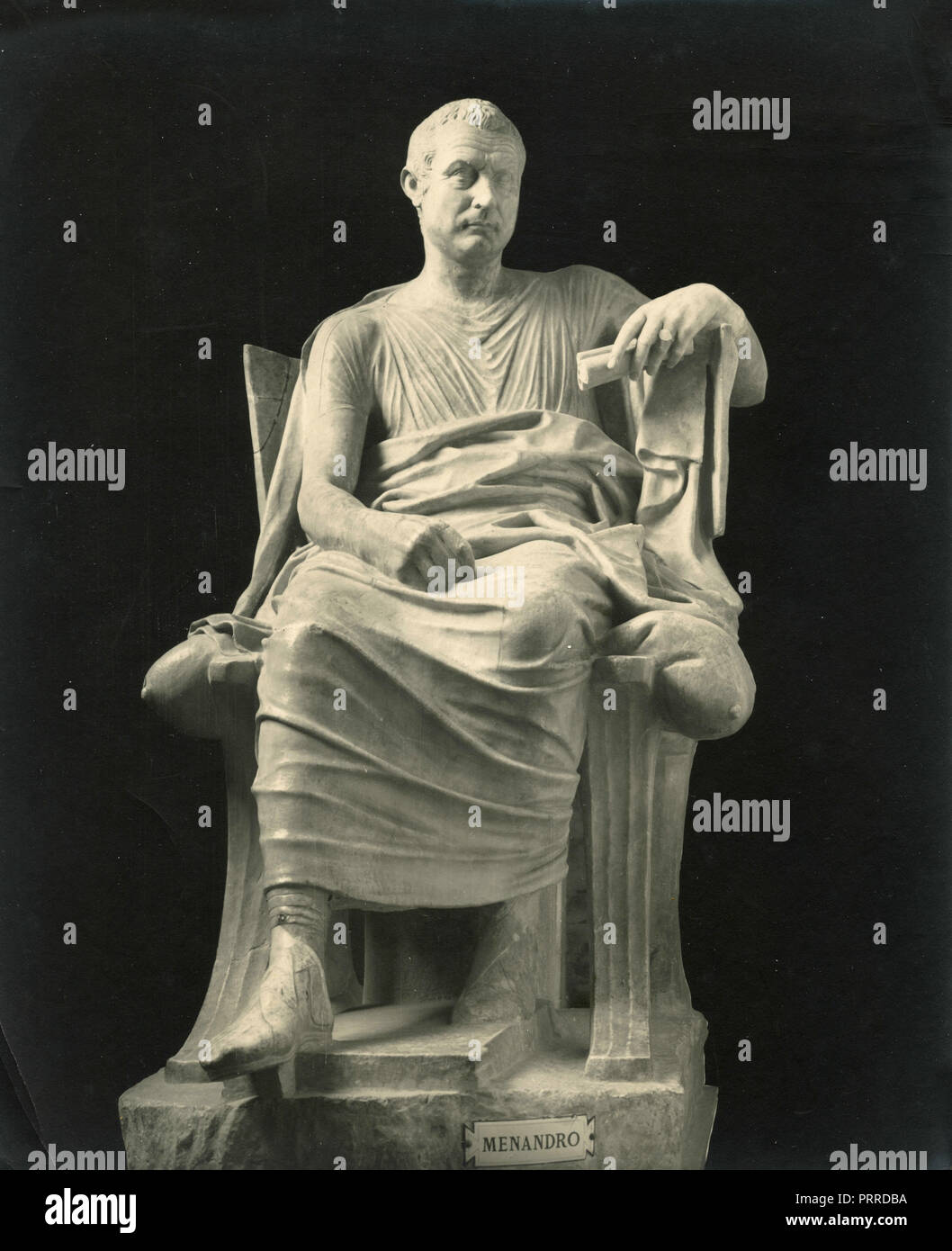 Menander, marble statue, 1910s - Stock Image