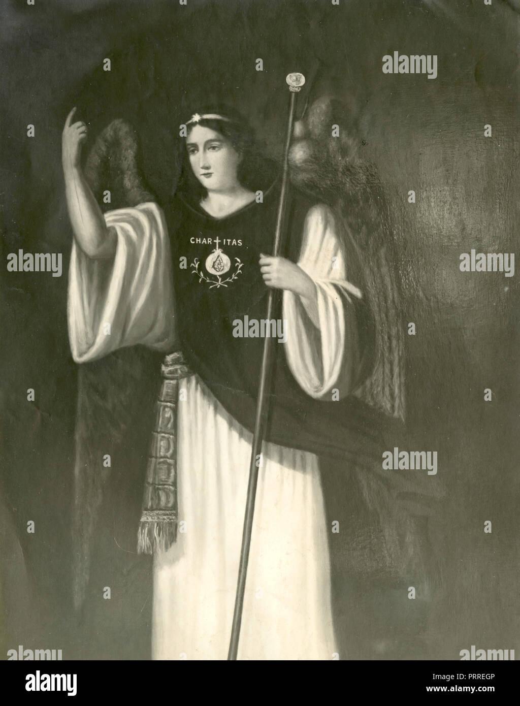 St. Raphael Archangel, painting 1930s - Stock Image