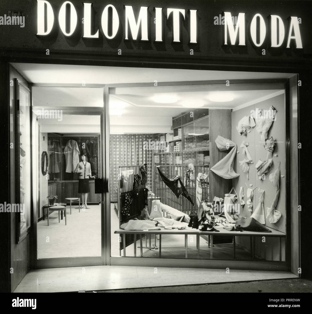 The windows of the shop Dolomiti Moda, Bolzano, Italy 1960s Stock Photo