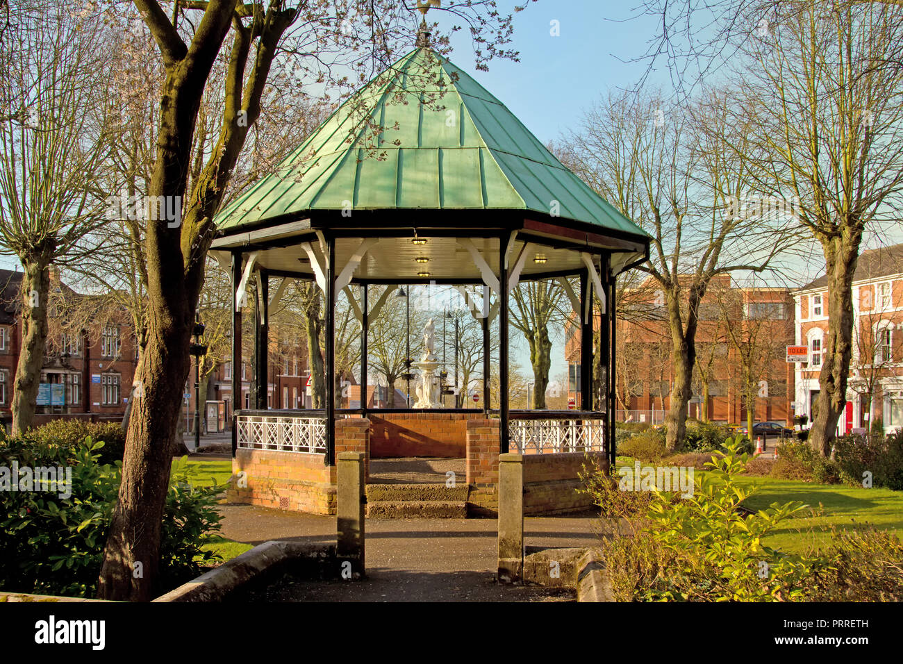 Redditch bandstand with Bartleet Fountain just behind. - Stock Image