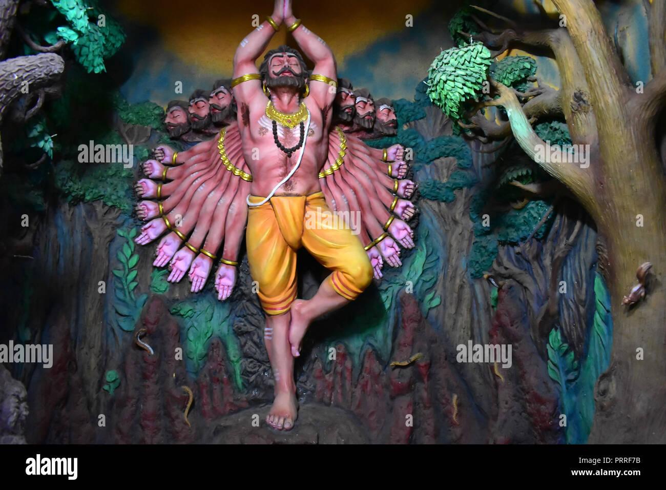Murudeshwar Cave Museum, Karnataka, India: August 25,2018: Ravana Praying to Lord Shiva - Stock Image