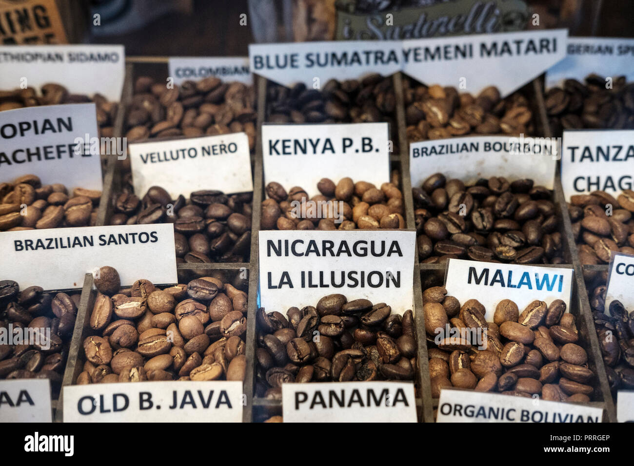 UK,London,Soho-algerian coffee company- variety of coffee beans on display - Stock Image