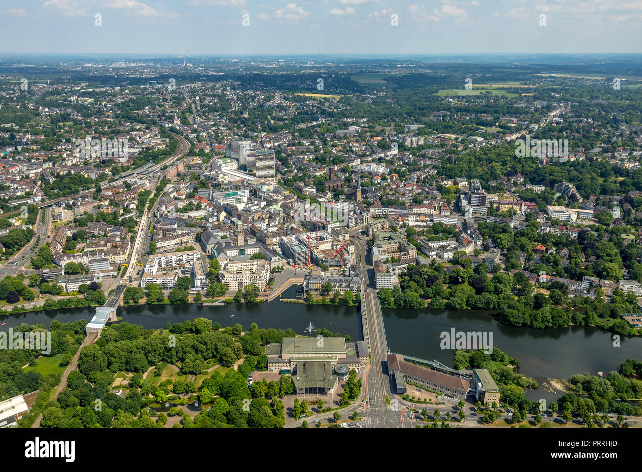 Mülheim city centre with views of Ruhrbania, Ruhrpromenade, Ruhr and City Hall, StadtQuartiers Schlossstraße, SQS - Stock Image