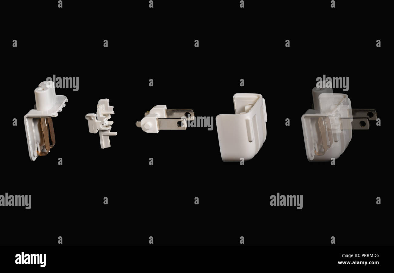 The electric plug is taken apart in isometric view isolated on black background. - Stock Image