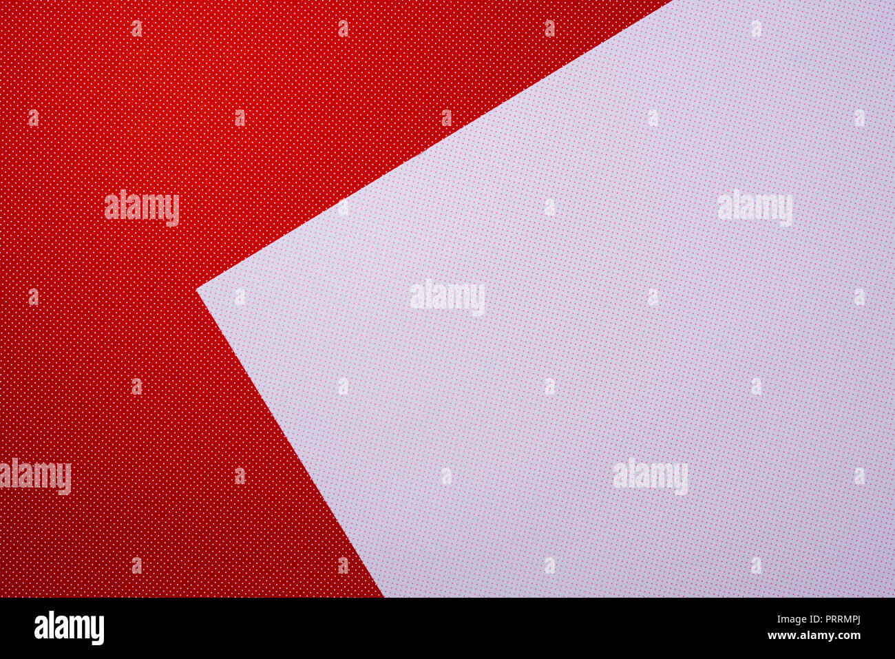 top view of red and white template with polka dot pattern for