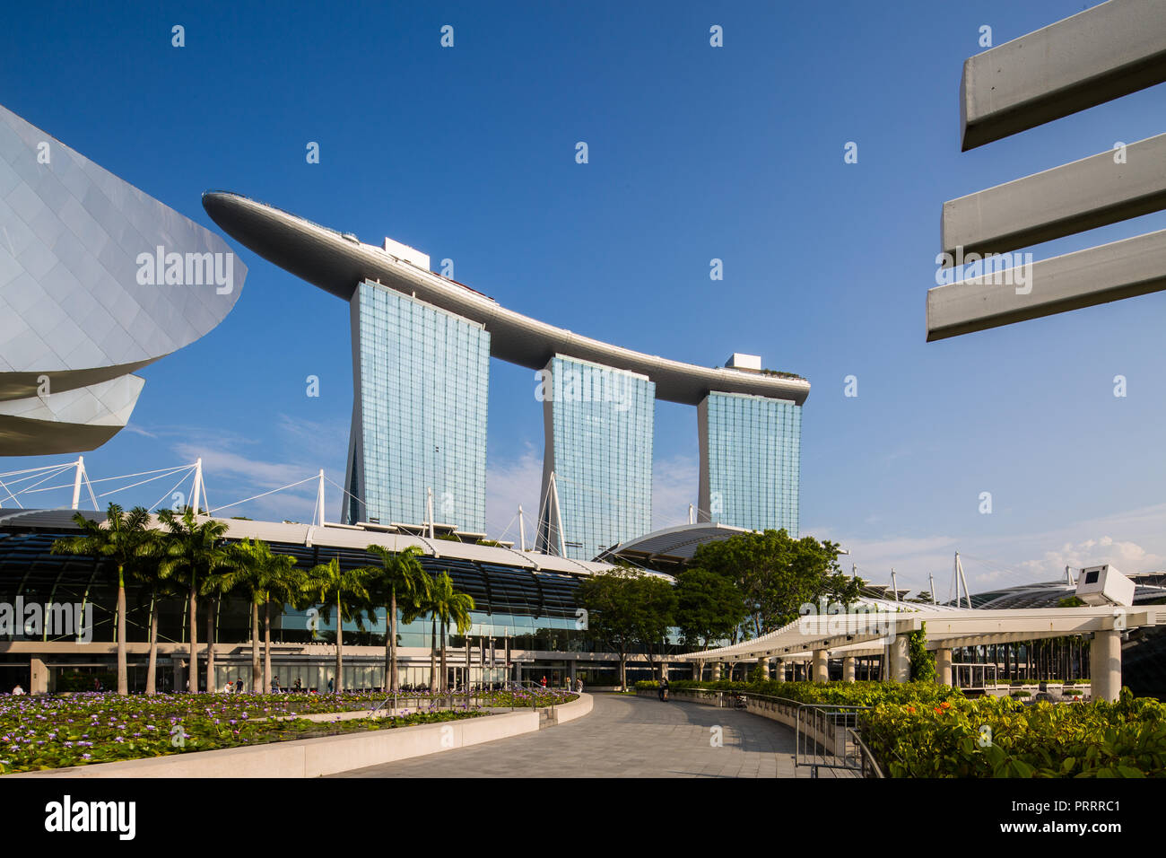 Architecture photography of Marina Bay Sands in Singapore - Stock Image