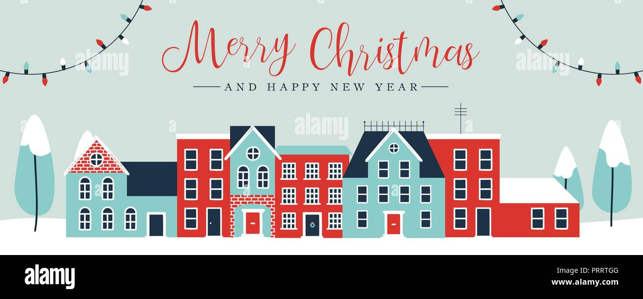 merry christmas and happy new year web banner illustration of cute houses in winter season holiday city landscape greeting card design with pine tree