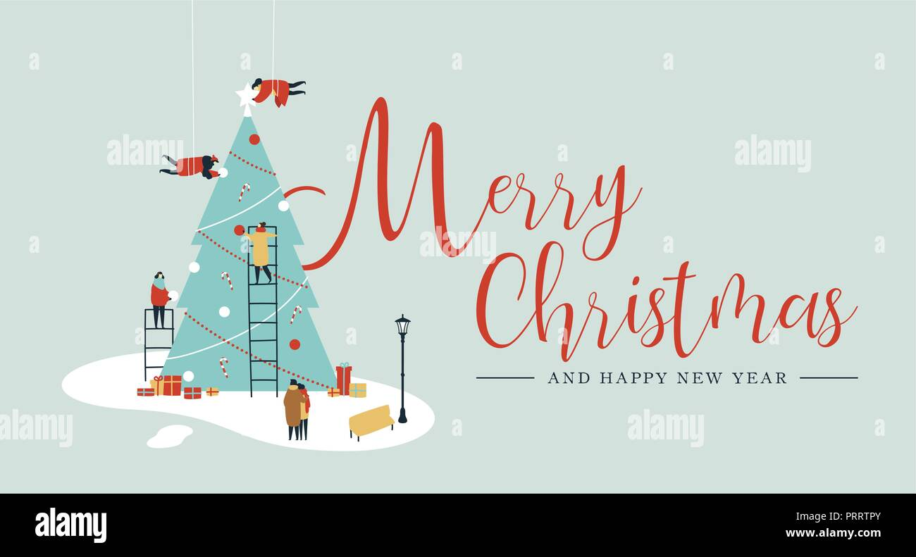 Merry Christmas And Happy New Year Greeting Card People Group