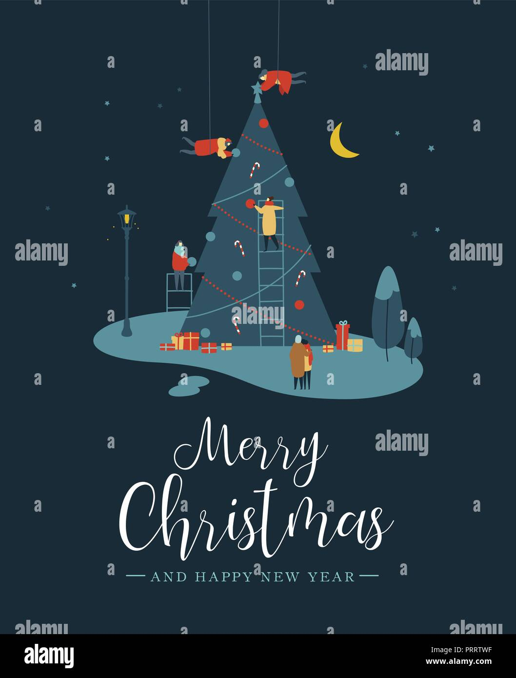 merry christmas and happy new year greeting card people group making big xmas pine tree together for holiday season with ornament decoration gifts at