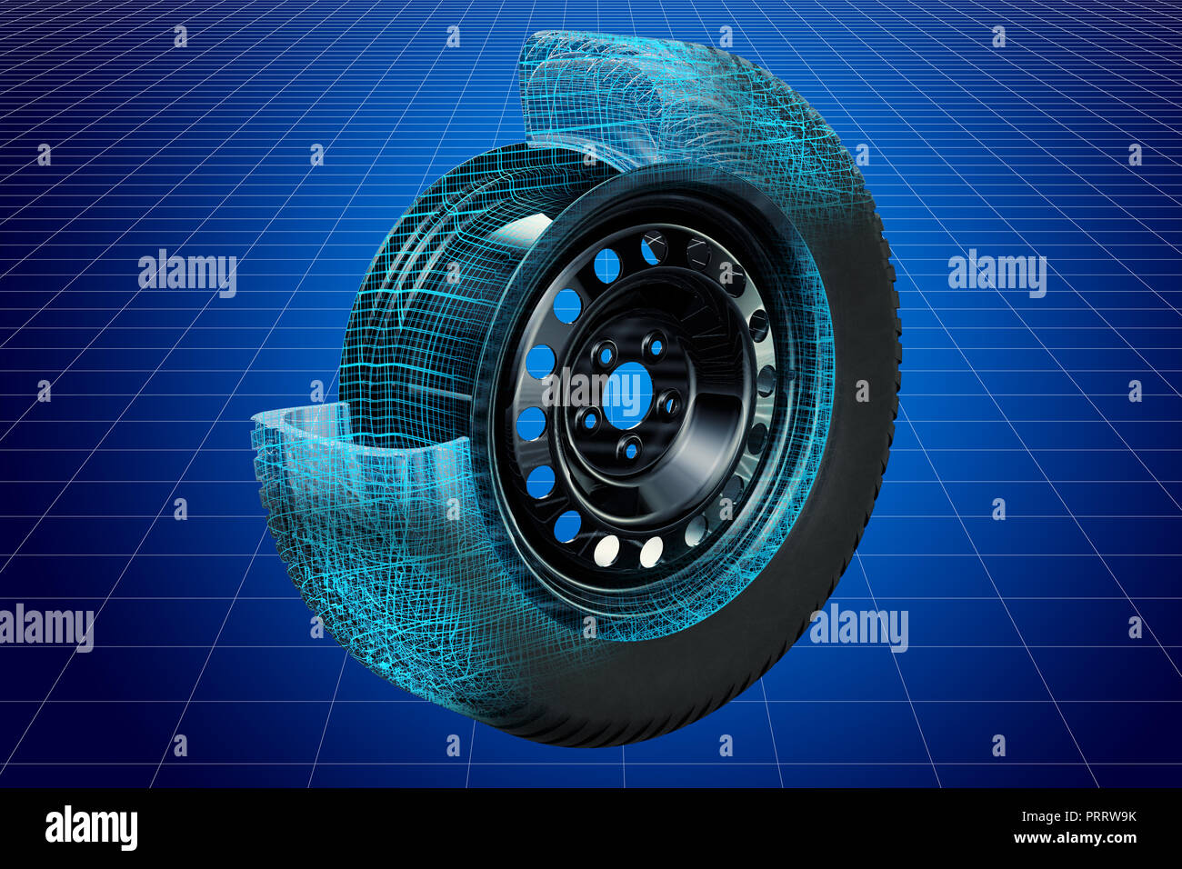 Visualization 3d Cad Model Of Car Wheel Blueprint 3d Rendering Stock Photo Alamy