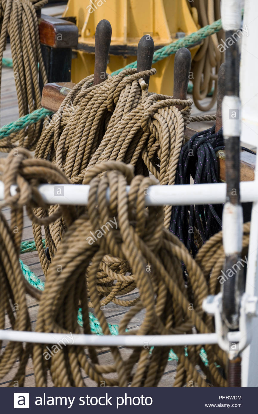 Detail of coiled rope on tall ship during the 2018 Tall Ships Regatta, Grand Canal Dock, Dublin, Leinster, Ireland - Stock Image