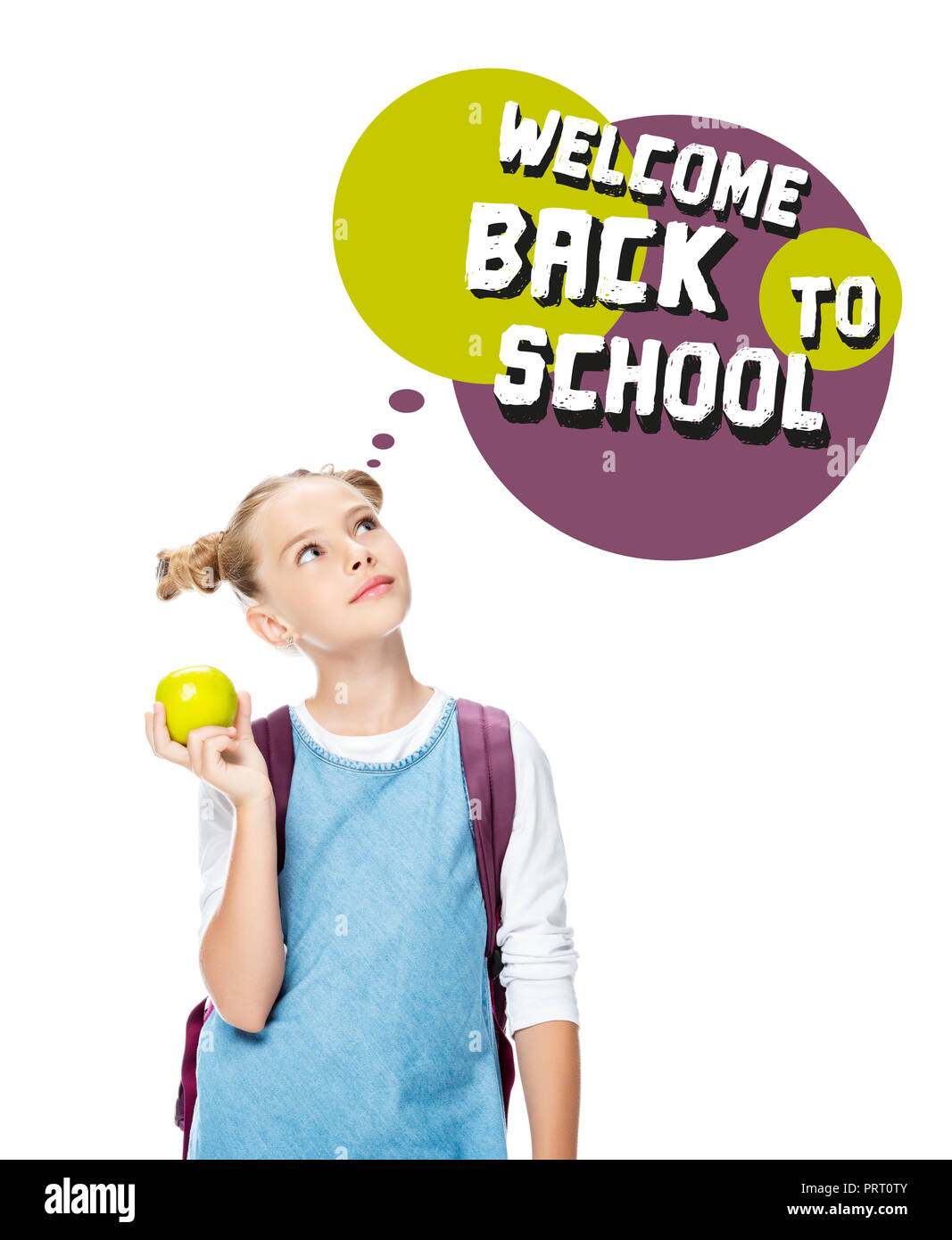 schoolchild holding apple and looking up at speech bubble