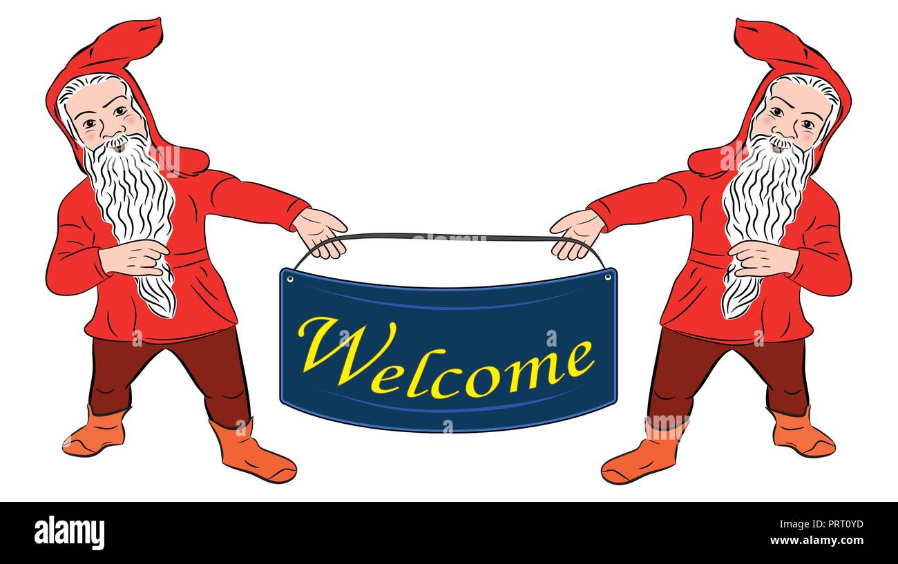 Dwarfs. Funny dwarf. banner welcome - Stock Vector
