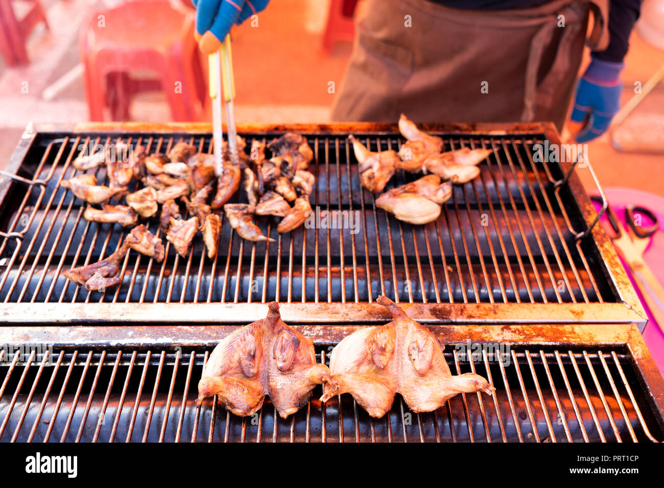 The sparrow meat is being cooked,  Gyeonggi-do Province, South korea. - Stock Image