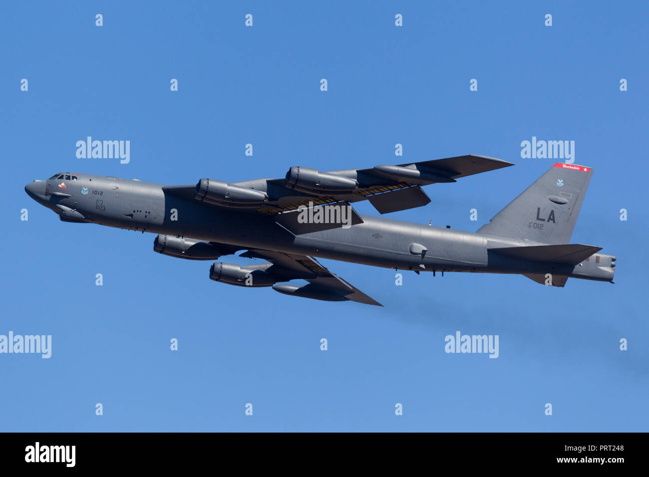 United States Air Force (USAF) Boeing B-52H Stratofortress strategic bomber aircraft (61-0012) from Barksdale Air Force Base. - Stock Image