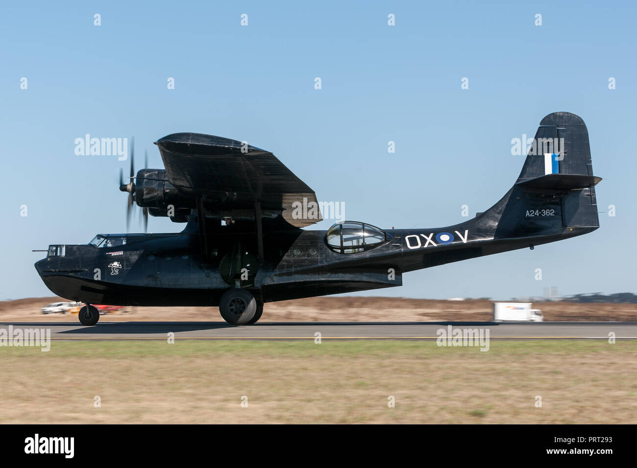 Consolidated PBY Catalina Flying boat VH-PBZ operated by the Historical Aircraft Restoration Society (HARS) wearing the famous ÔBlack CatsÕ livery fro Stock Photo