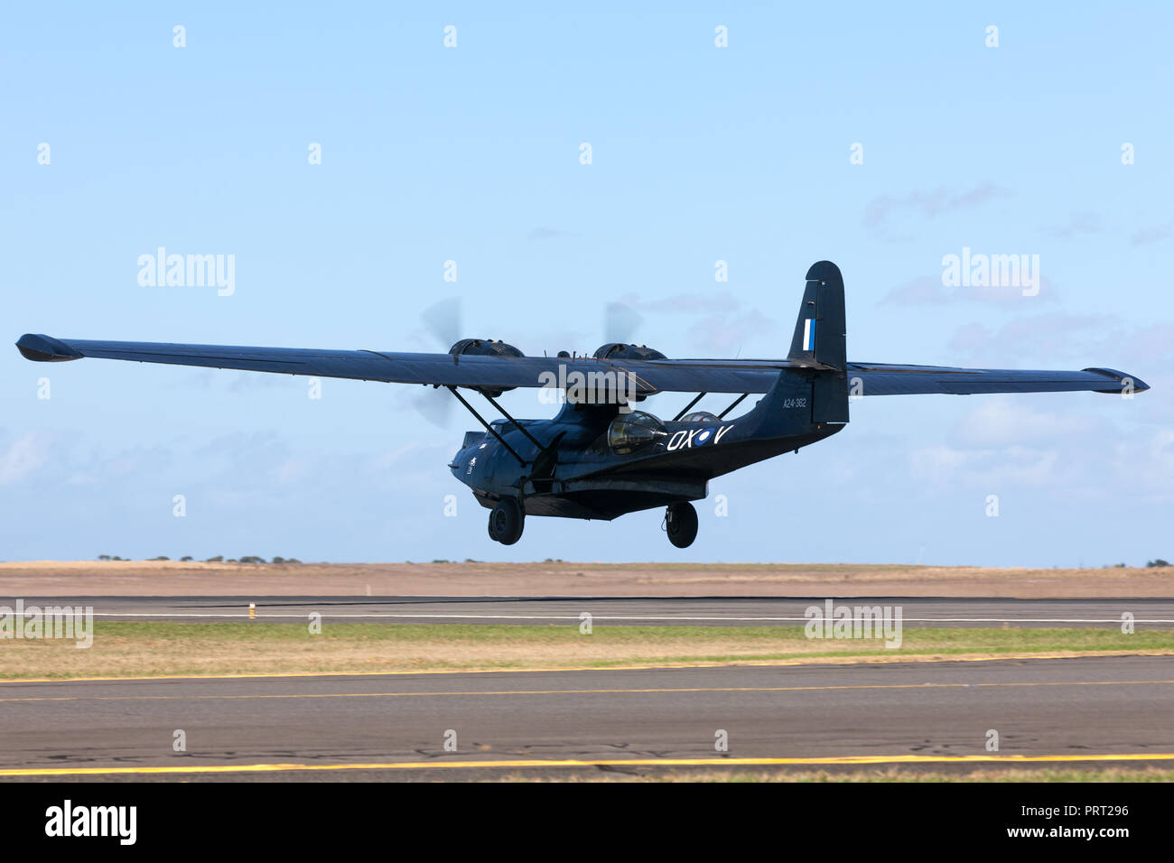 Consolidated PBY Catalina Flying boat VH-PBZ operated by the Historical Aircraft Restoration Society (HARS) wearing the famous ÔBlack CatsÕ livery fro - Stock Image