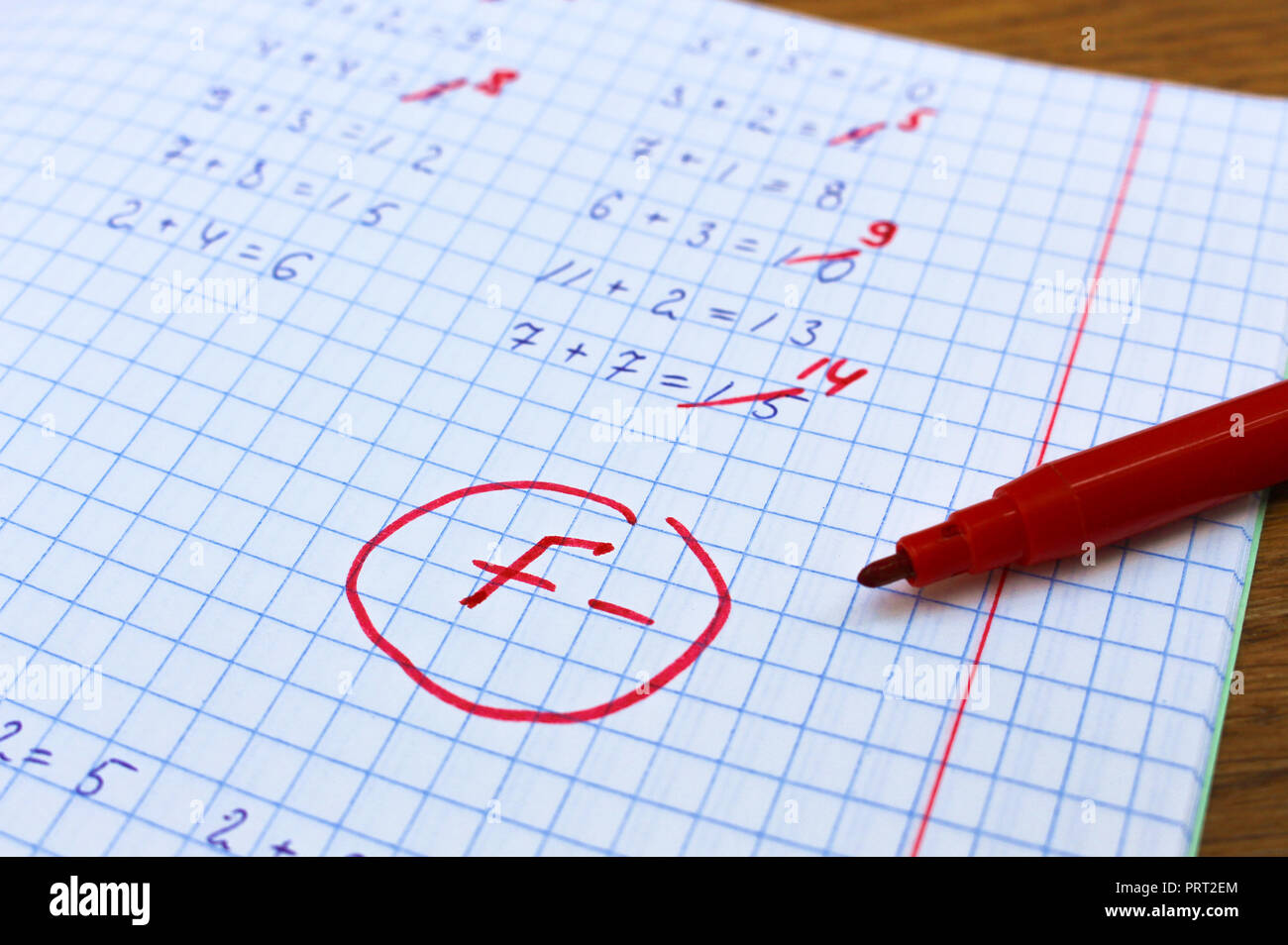 Errors corrected in red pen in a notebook. Bad score for the solution of mathematical expressions. Mark F-. - Stock Image
