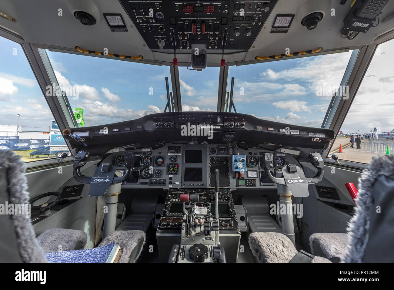 Cockpit of Casa C-212 twin engine transport aircraft VH-VHB operated by Sky Traders. - Stock Image