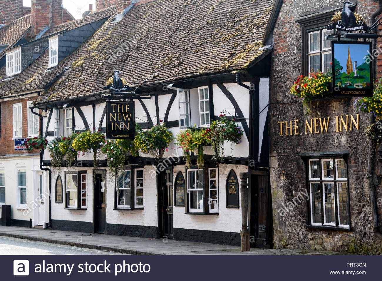 The New Inn, an historic Hall and Woodhouse public house in Salisbury, Wiltshire, England, UK Stock Photo