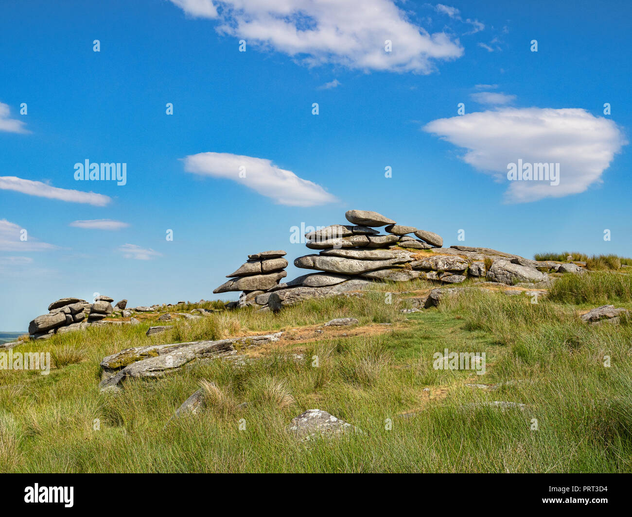 Massive granite tors on Stowe's Hill, Bodmin Moor, Cornwall, UK on a bright sunny day. Stock Photo