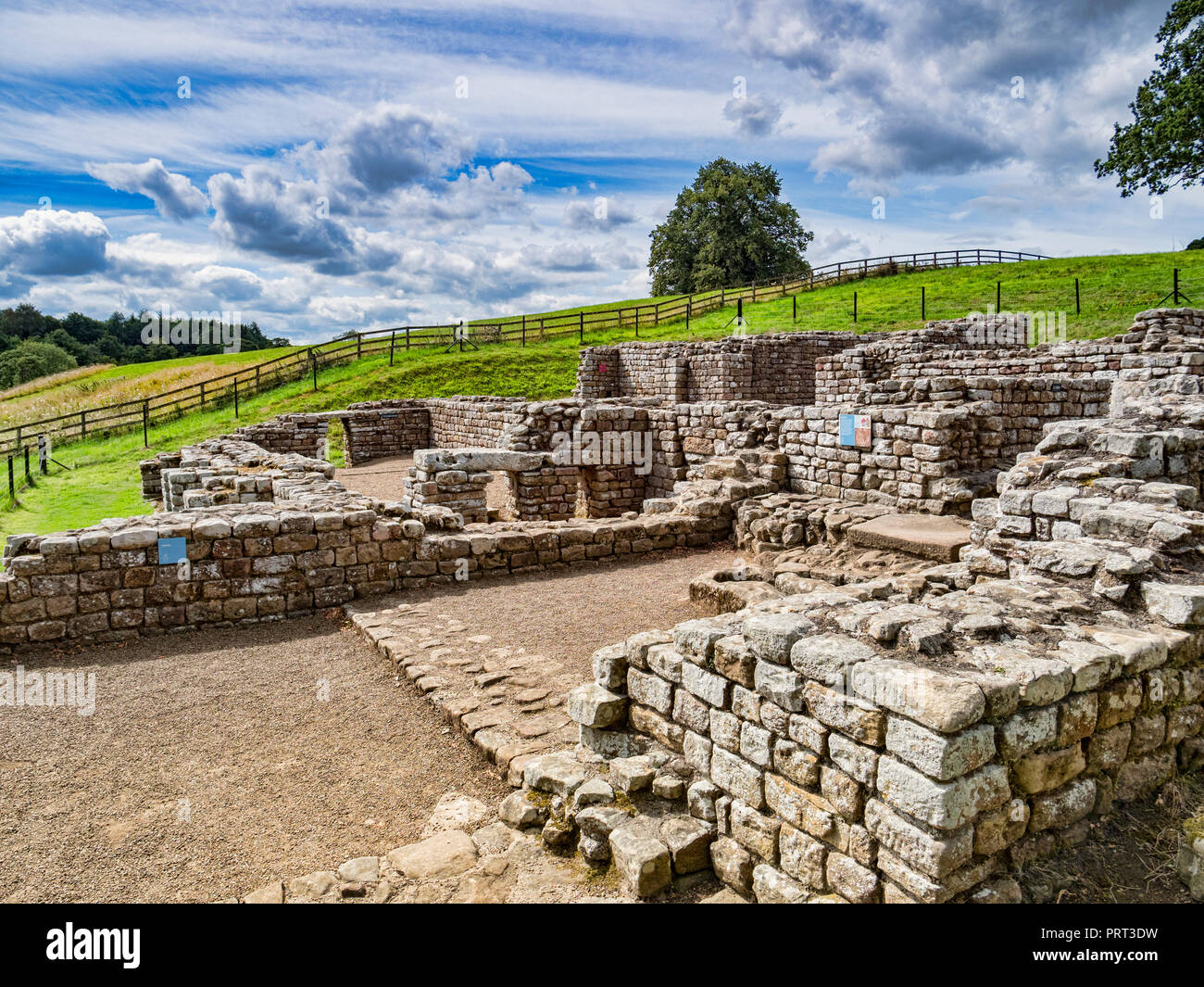 11 August 2018: Hadrian's Wall, Northumberland, UK - The best preserved Roman bath house in the UK at Chesters Roman Fort. Stock Photo