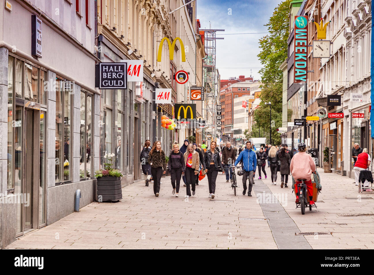 14 September 2018: Gothenburg, Sweden - Kungsgatan, the main shopping street in Gothenburg, crowded with shoppers. Stock Photo