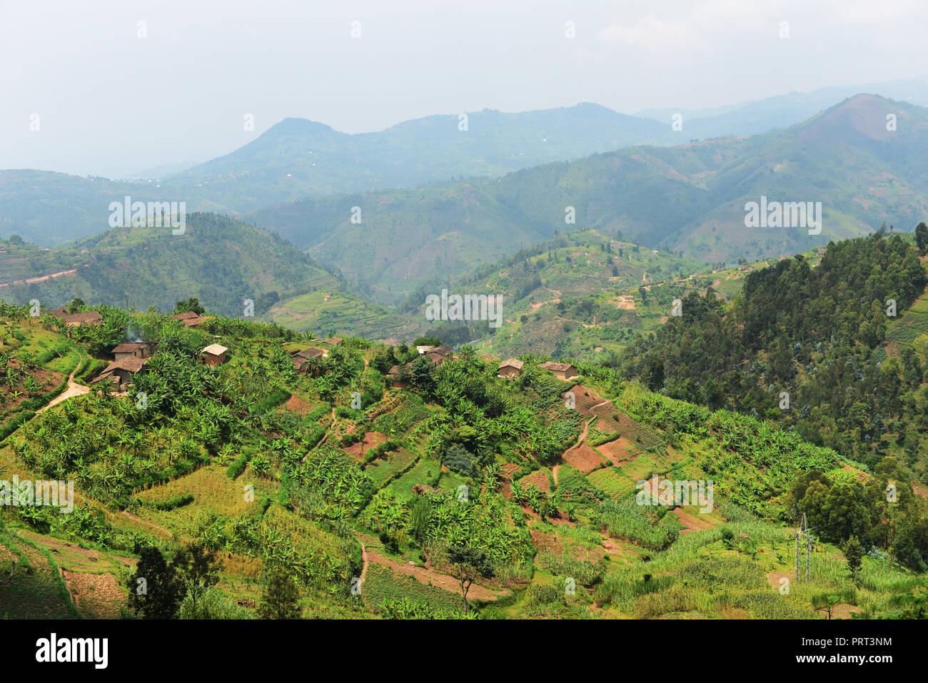 Rural landscapes in western Rwanda. - Stock Image