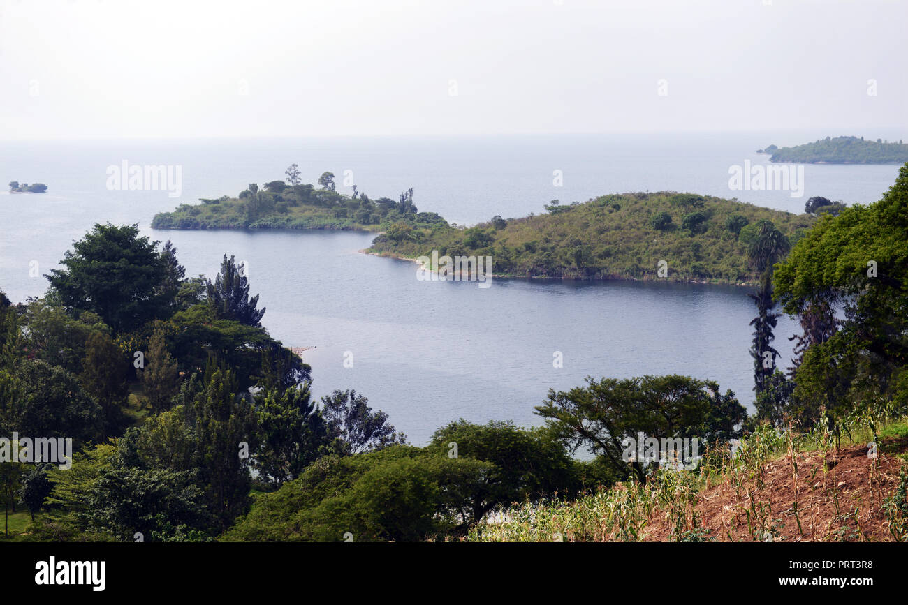 Beautiful scenery at lake Kivu, Rwanda. - Stock Image