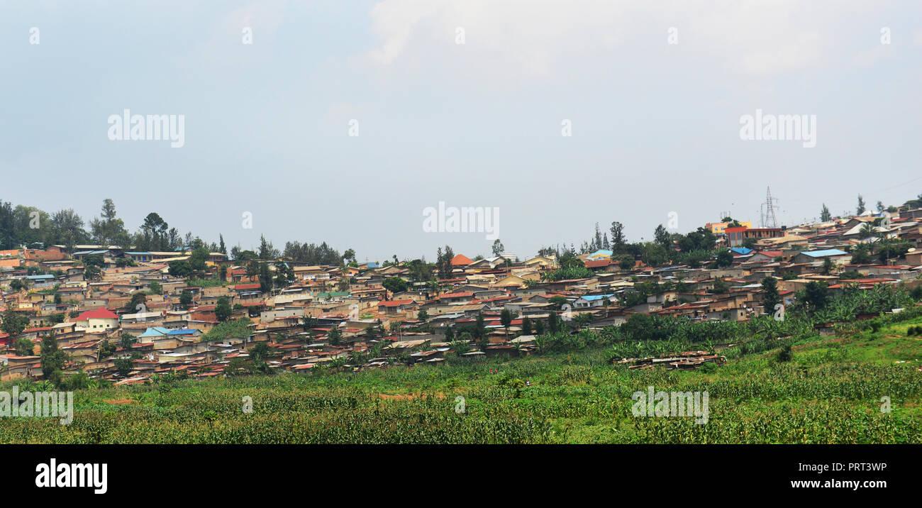Neighborhoods in Kigali, Rwanda. - Stock Image
