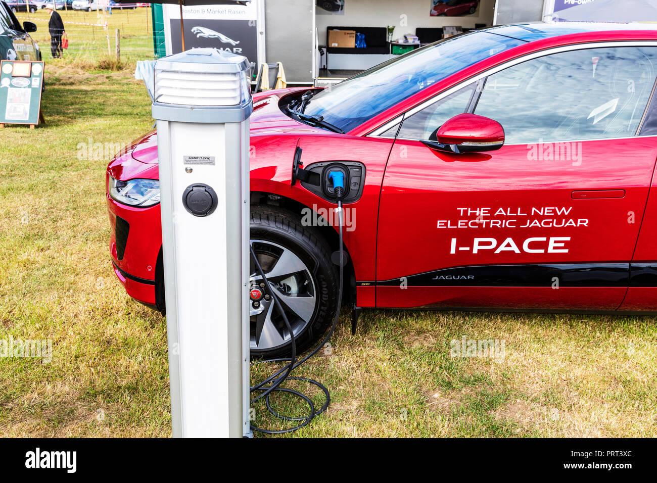 Jaguar i-pace car charging, Jaguar i-pace car, Jaguar i-pace, charging, Electric car, charging car point, car charging point, I-pace jaguar, - Stock Image