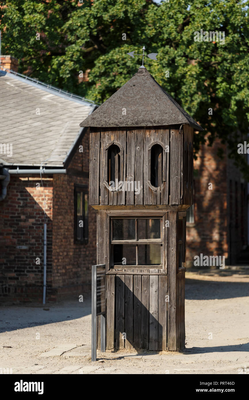 Oswiecim, Poland - August 22, 2018: Former German Nazi Concentration and Extermination Camp Auschwitz-Birkenau. - Stock Image
