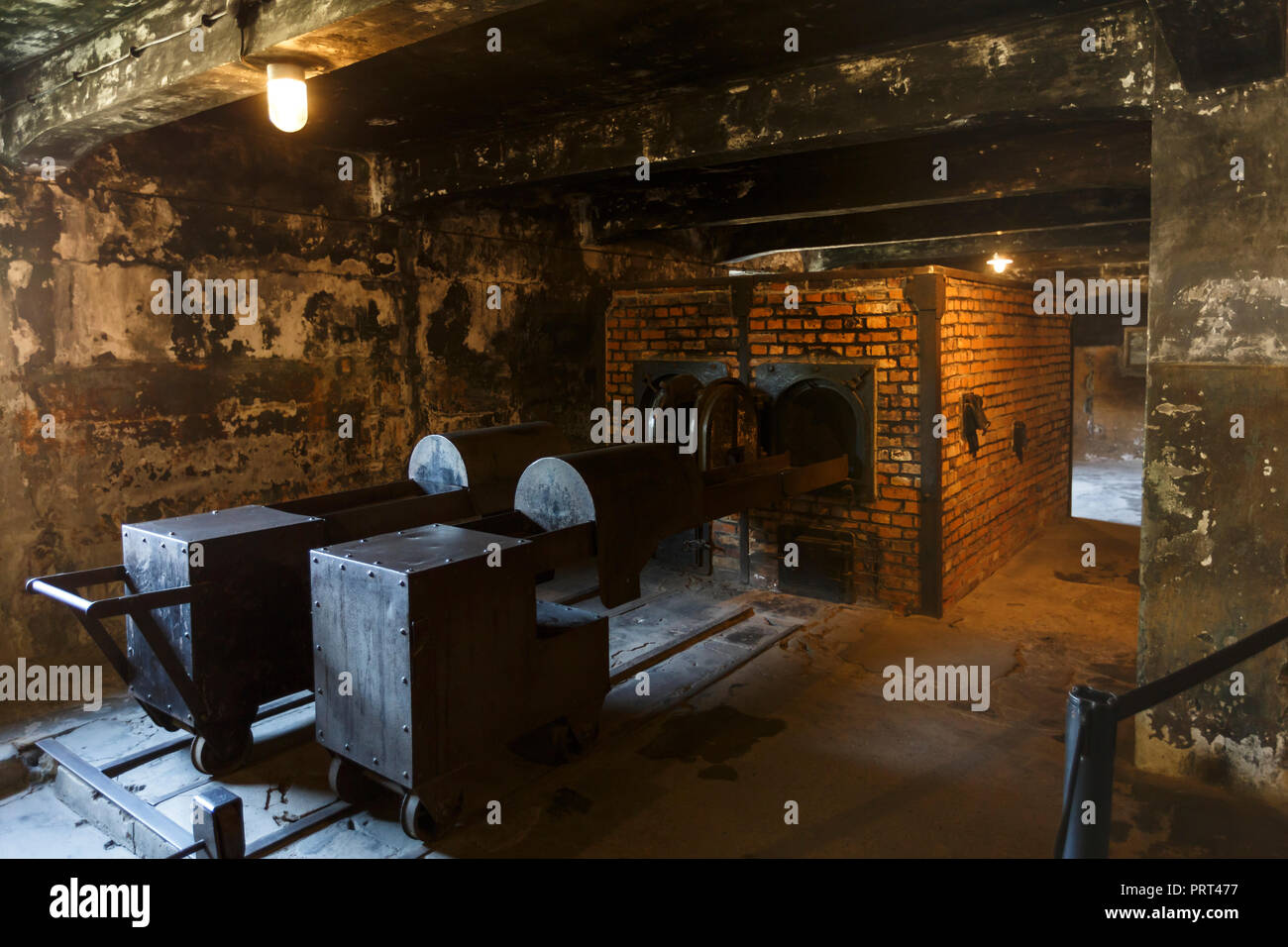 Oswiecim, Poland - August 22, 2018: Crematory in former German Nazi Concentration and Extermination Camp Auschwitz-Birkenau. - Stock Image