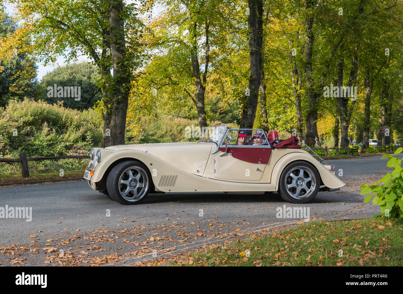 Morgan Aero Supersports car, a cream targo top semi convertible car with 2 passengers and the top down, on a country road in the UK. - Stock Image