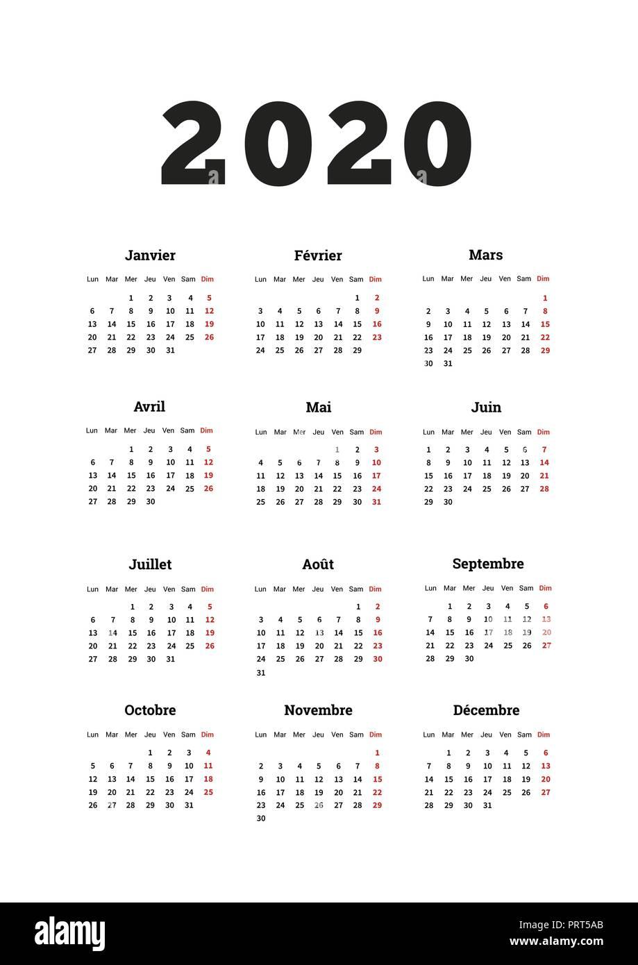 Calendario 2020 Editable Illustrator.2020 Year Simple Calendar On French Language A4 Size
