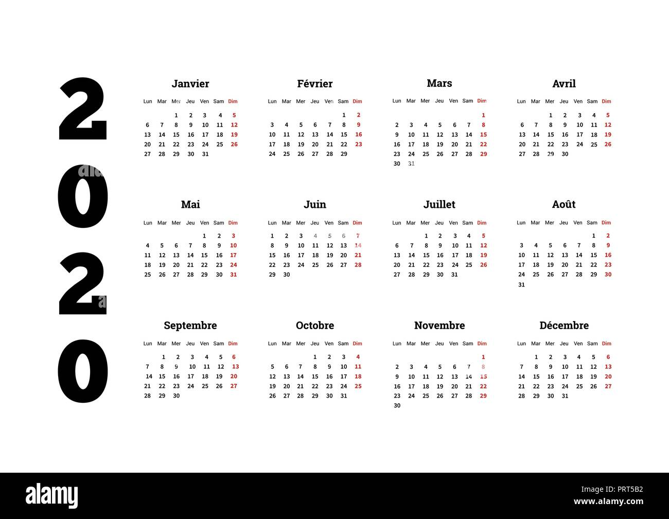 French Calendar 2020 2020 year simple calendar on french language, isolated on white