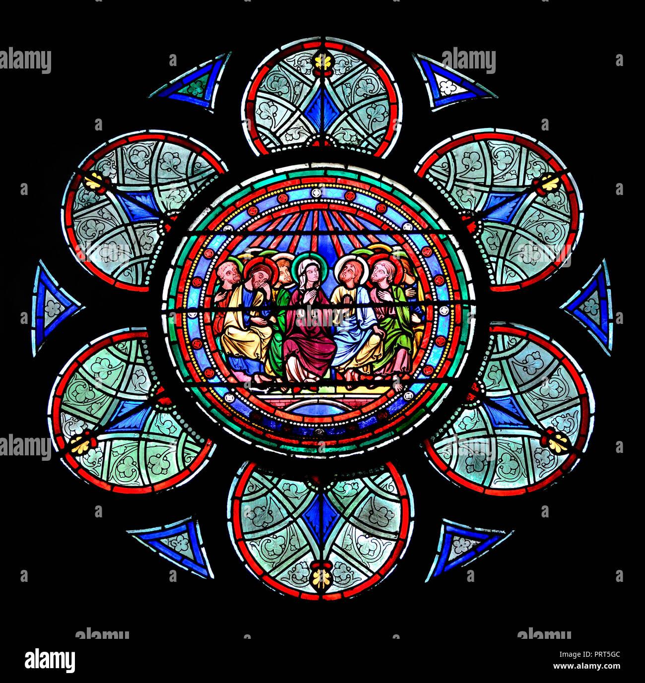 Paris, France. Notre Dame cathedral / Notre-Dame de Paris on Isle de la Cite. Stained glass window - Stock Image