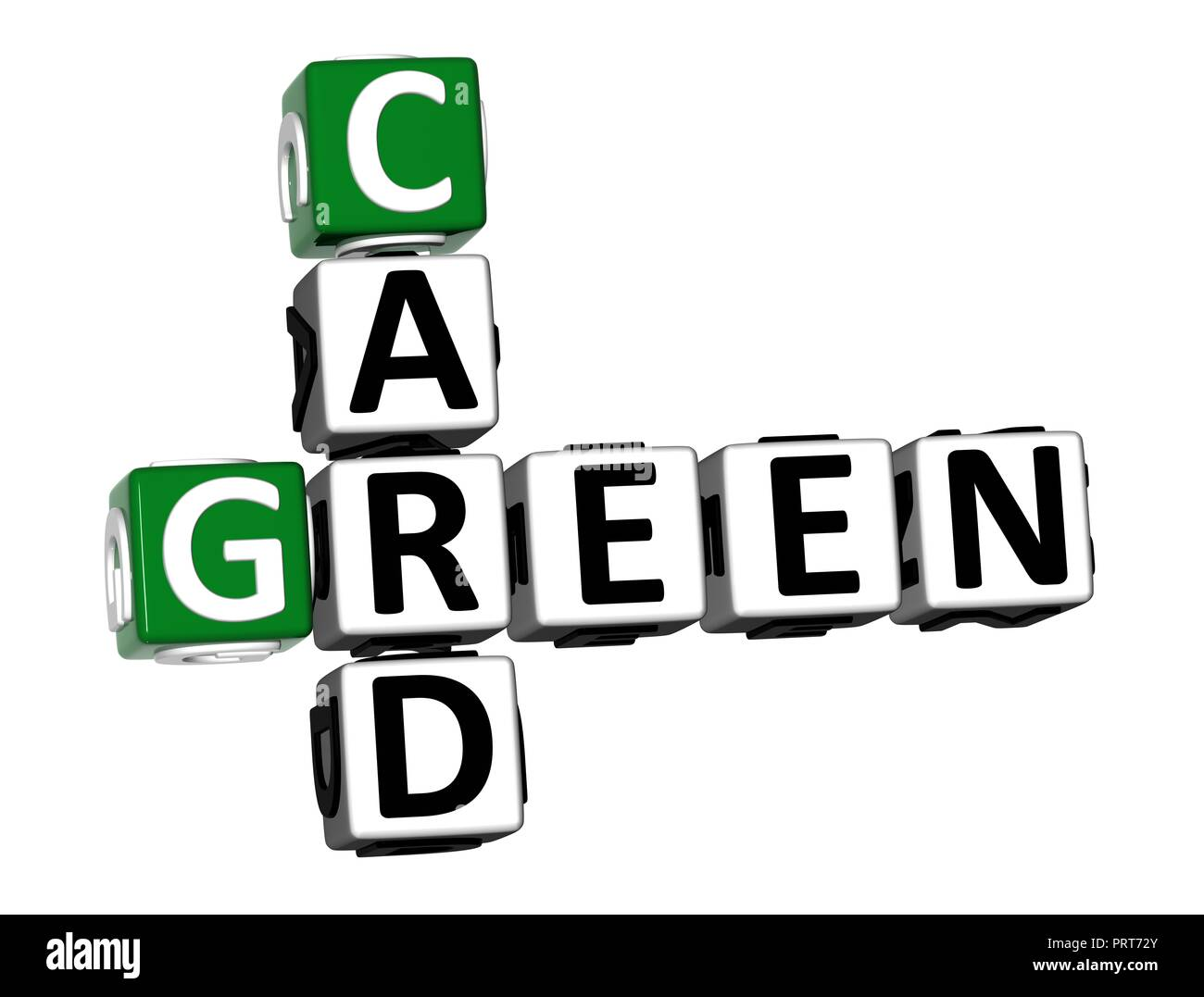 3D Rendering Crossword Green Card Word Over White Background. - Stock Image