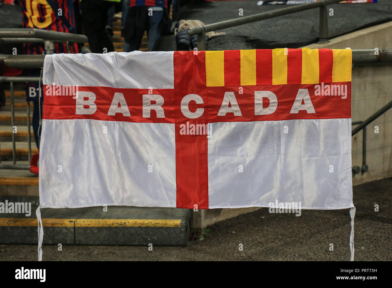 3rd October 2018, Wembley Stadium, London, England; UEFA Champions League, Tottenham v Barcelona ; Barcelona flags  Credit: Mark Cosgrove/News Images - Stock Image