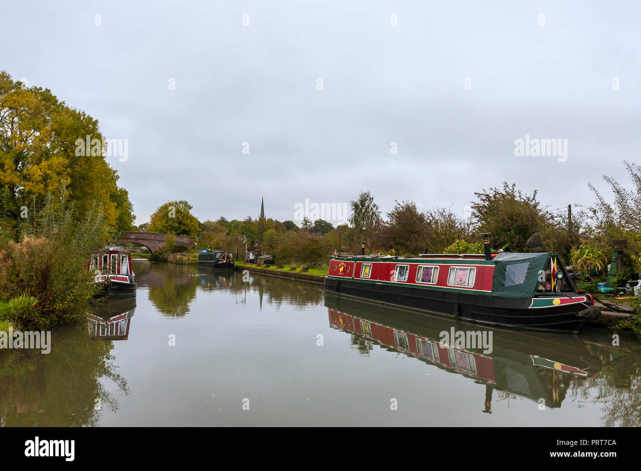 Moored up on the Grand Union Canal just west of Braunston, Northamptonshire, England, UK - Stock Image