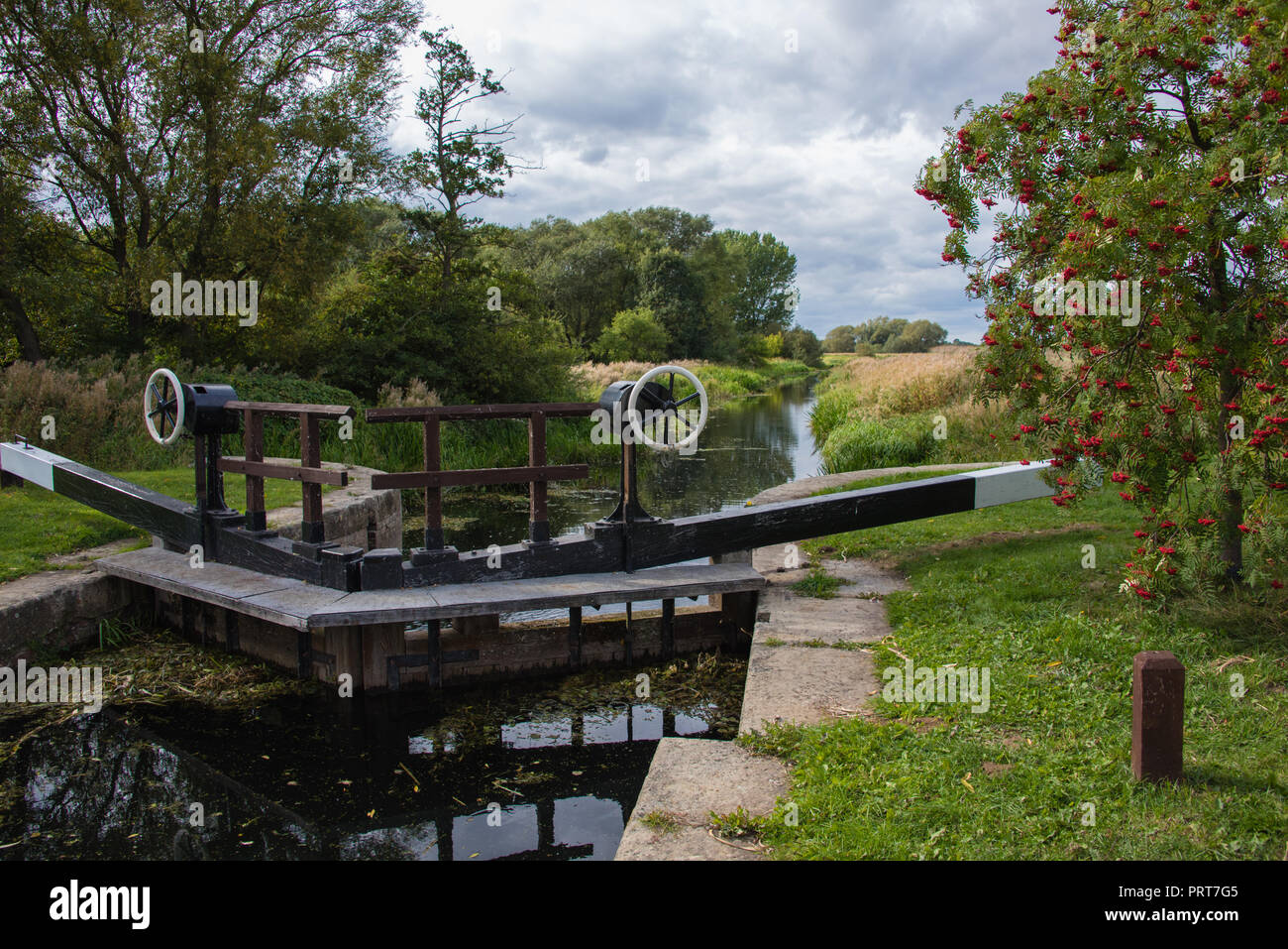 Restoration on Gardham lock gate on Pocklington Canal carried out by Pocklington Canal Amenity Society - Stock Image
