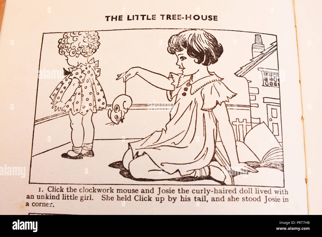 Unkindness. Punished. Illustration and caption from Josie, Click and Bun and the Little Tree House by Enid Blyton. Illustrated by Dorothy M Wheeler - Stock Image