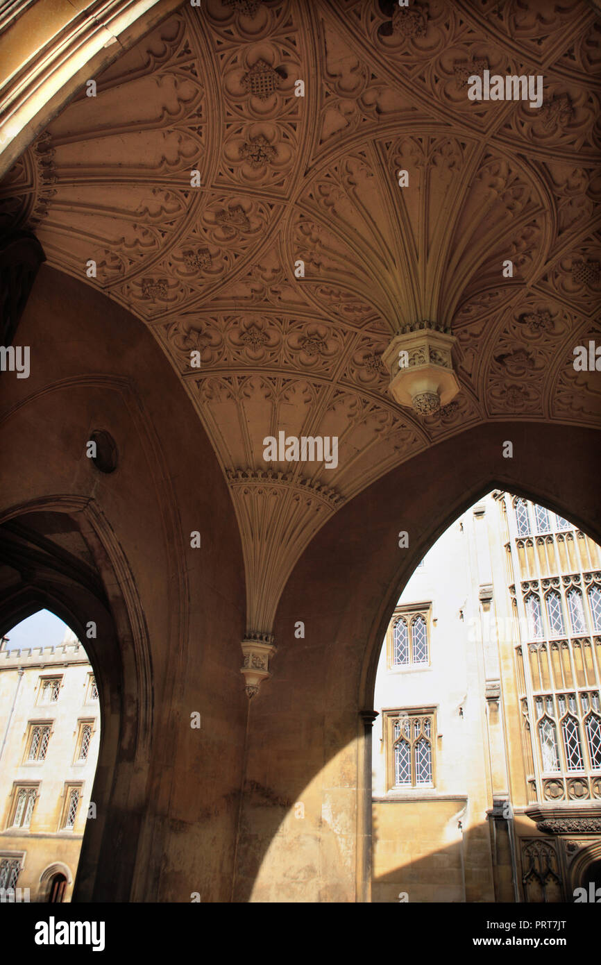 The ceiling of the entrance gate to New Court, St. John's College, Cambridge, England, known as the Eagle Gateway Stock Photo