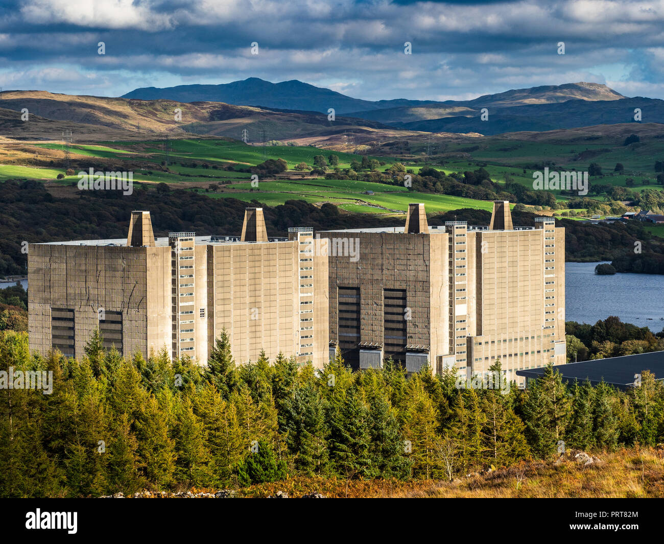 Trawsfynydd nuclear power station, designed by Basil Spence, Magnox power station opened 1965, closed 1991, being decommissioned, completion due 2083 - Stock Image