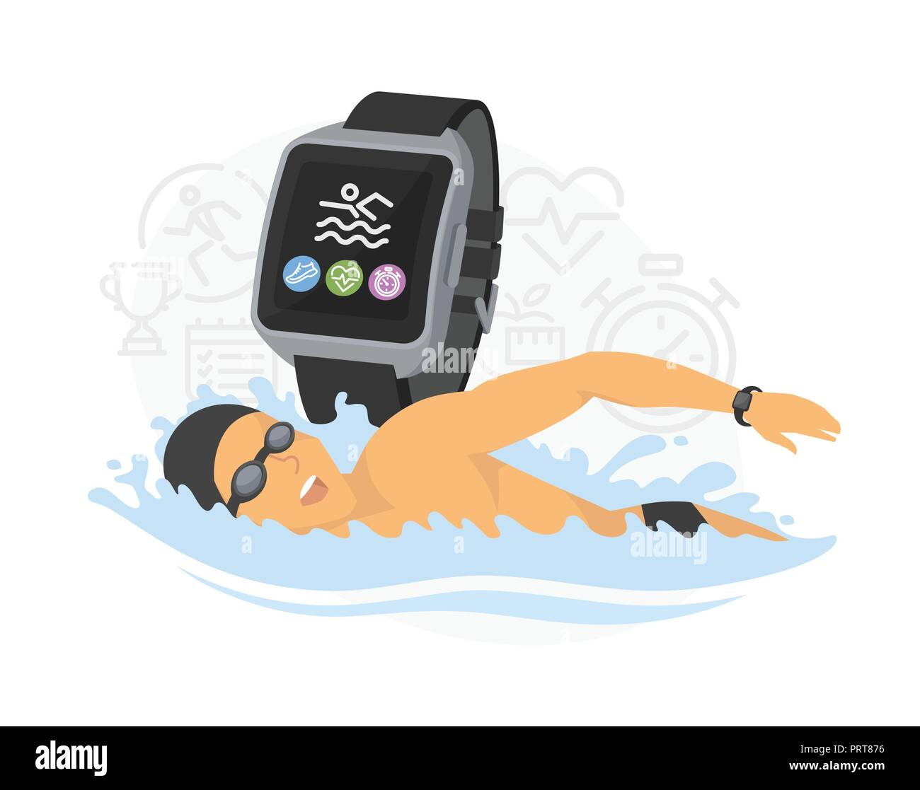 Swimming - modern colorful vector cartoon character illustration - Stock Vector