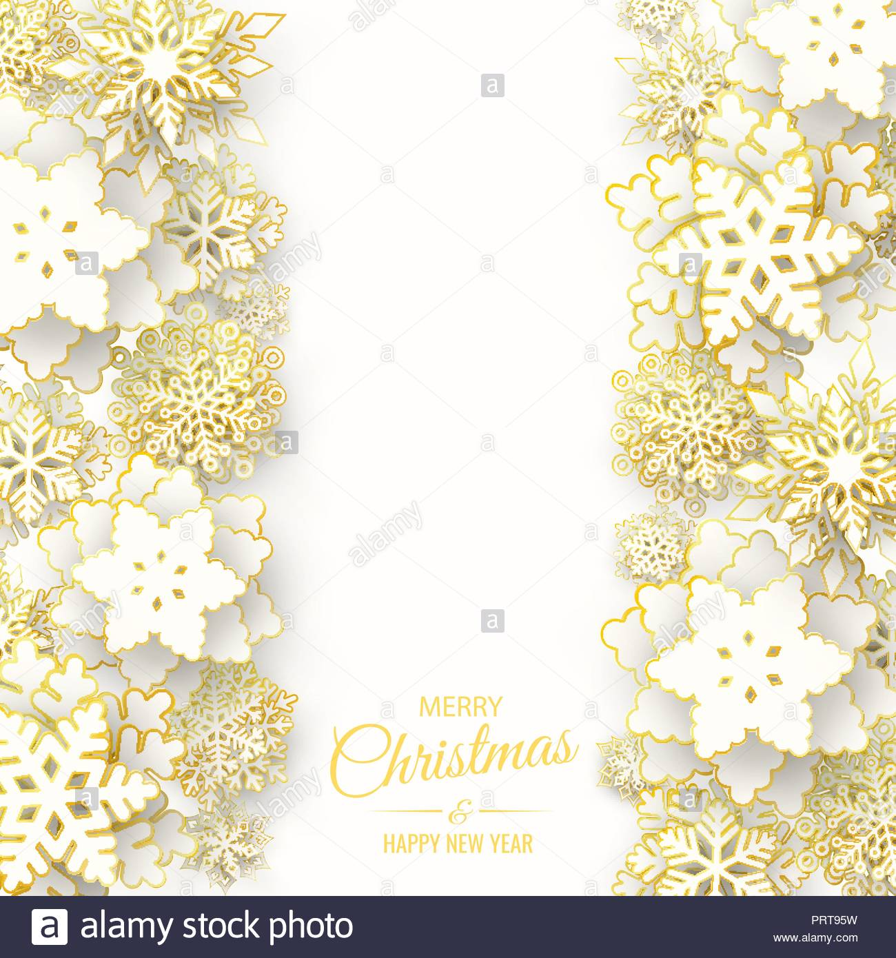 vector merry christmas and happy new year greeting card design with 3d white and gold layered paper cut snowflakes on white background seasonal chris