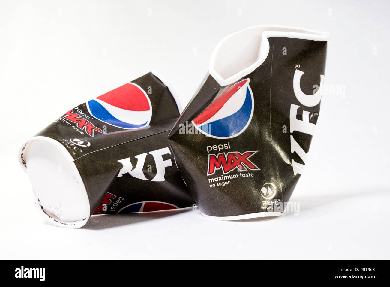 Plastic none recyclable KFC cups - Stock Image