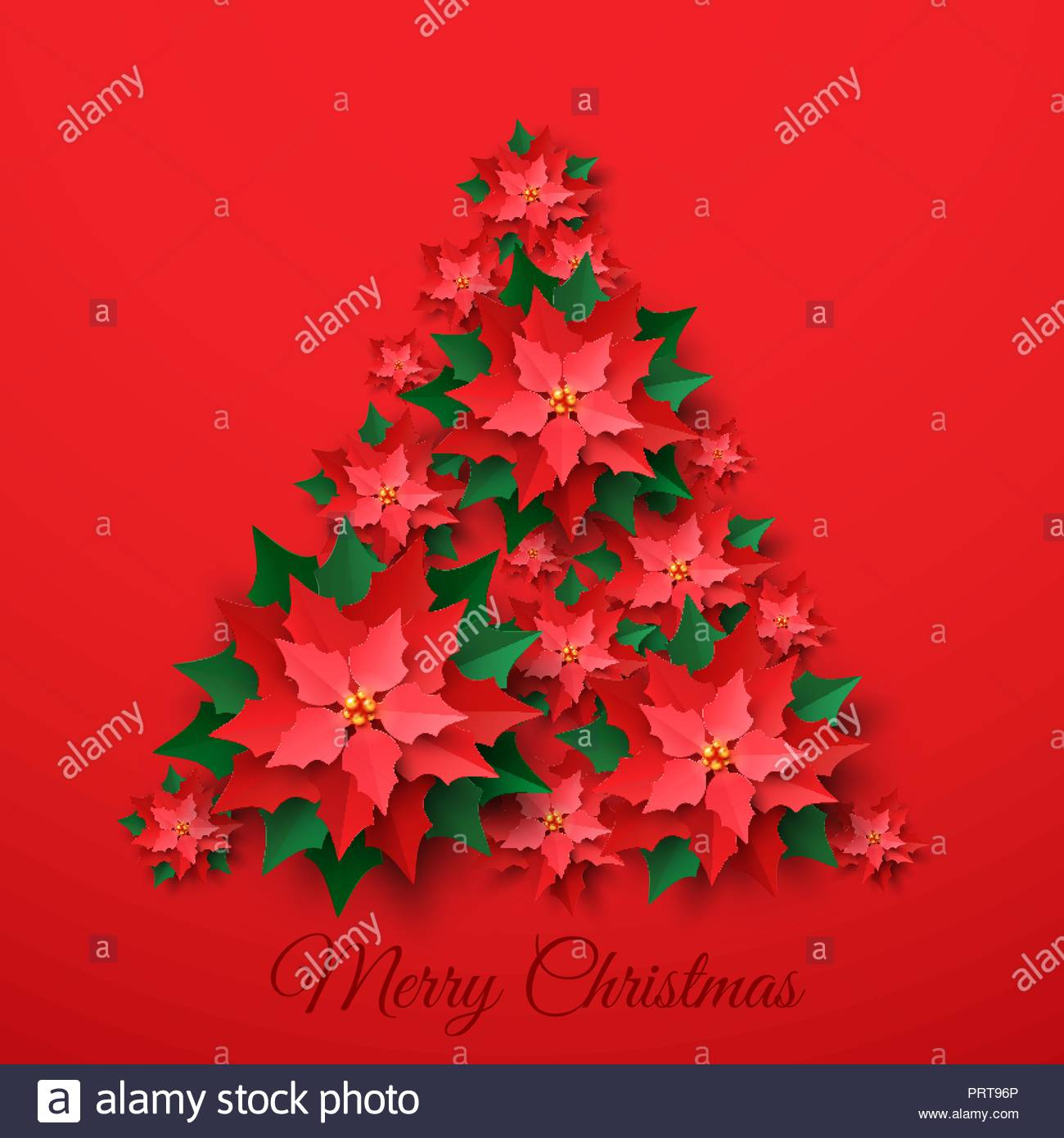 vector red christmas tree made of 3d layered poinsettia flower in paper cut style on red background happy new year and merry christmas greeting card